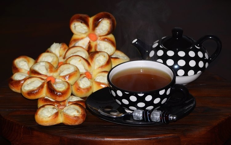 чай, чашки, выпечка, творог, ватрушка, tea, cup, cakes, cheese, cheesecake