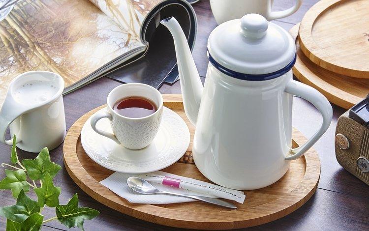 чашка, чай, чайник, молоко, cup, tea, kettle, milk