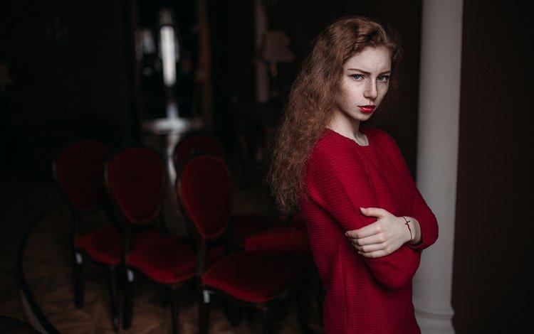 девушка, лицо, молодая, настроение, милая, киностудия, портрет, помада, прелесть, взгляд, краcный, стулья, волос, рыжая, свитер, иван проскурин, красавица, мария, russiam, модель, веснушки, губы, красивая, beautiful, girl, face, young, mood, sweetheart, studio, portrait, lipstick, the beauty, look, chairs, hair, red, sweater, ivan proskurin, beauty, maria, model, freckles, lips