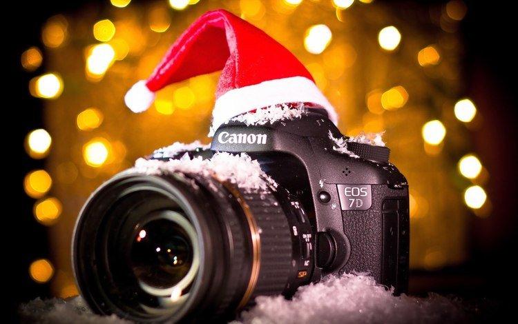 новый год, фотоаппарат, шапка, канон, new year, the camera, hat, canon