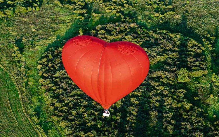пейзаж, полет, сердце, корзина, воздушный шар, landscape, flight, heart, basket, balloon