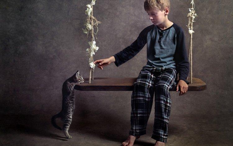 кошка, мальчик, качели, cat, boy, swing