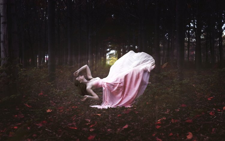 forest, leaves, girl, flight, dress, pose, autumn, fantasy, levitation, hung