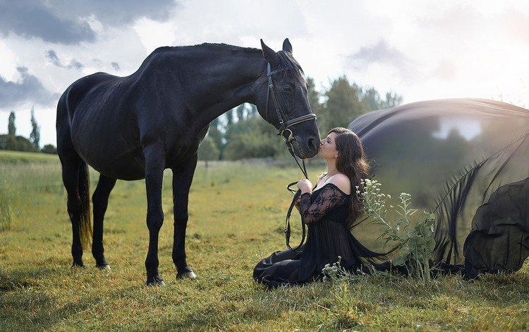 nature, girl, summer, horse
