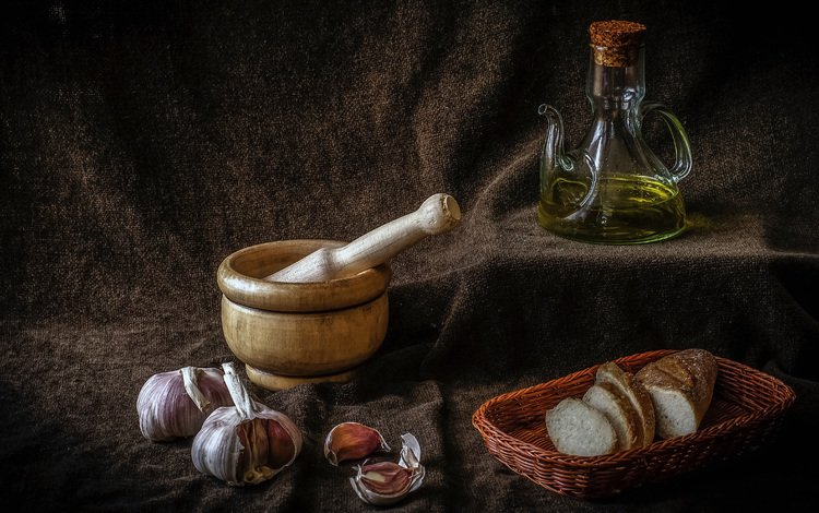 масло, хлеб, корзинка, натюрморт, чеснок, oil, bread, basket, still life, garlic