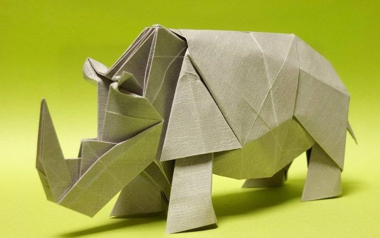 paper, origami, rhino