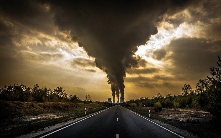 дорога, дым, трубы, road, smoke, pipe