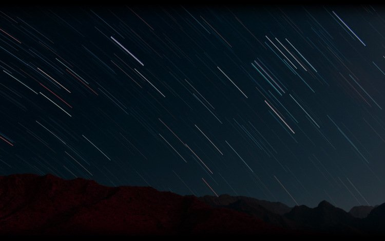 space, sunset, desert, galaxy, universe, shooting stars