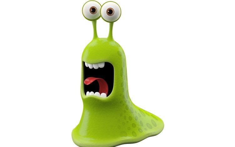 зелёный, монстр, белый фон, улыбающийся монстр, слизняк, green, monster, white background, smiling monster, slug