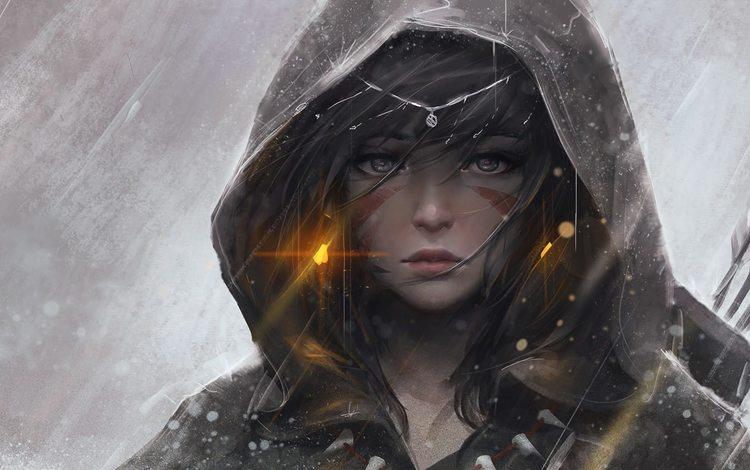 арт, guweiz, девушка, взгляд, плащ, лучница, тату, дождь, капюшон, art, girl, look, cloak, archer, tattoo, rain, hood