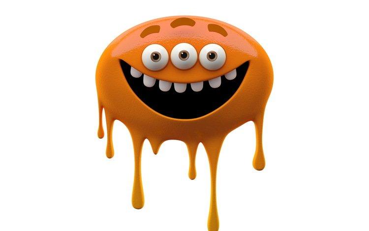 глаза, монстр, оранжевый, зубы, белый фон, улыбающийся монстр, слизняк, eyes, monster, orange, teeth, white background, smiling monster, slug
