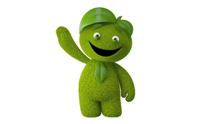зелёный, монстр, человек, белый фон, улыбающийся монстр, green, monster, people, white background, smiling monster
