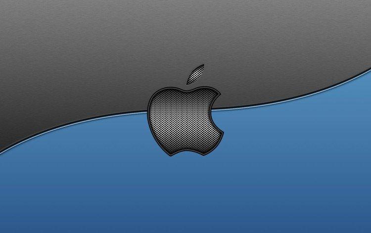 текстура, серый, голубой, логотип, линия, компьютер, эппл, texture, grey, blue, logo, line, computer, apple