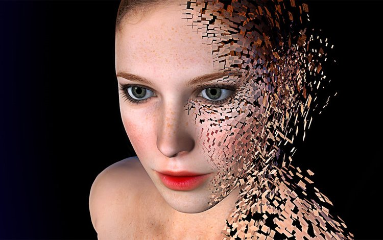 девушка, лицо, hd, 3д, распад, girl, face, 3d, the collapse