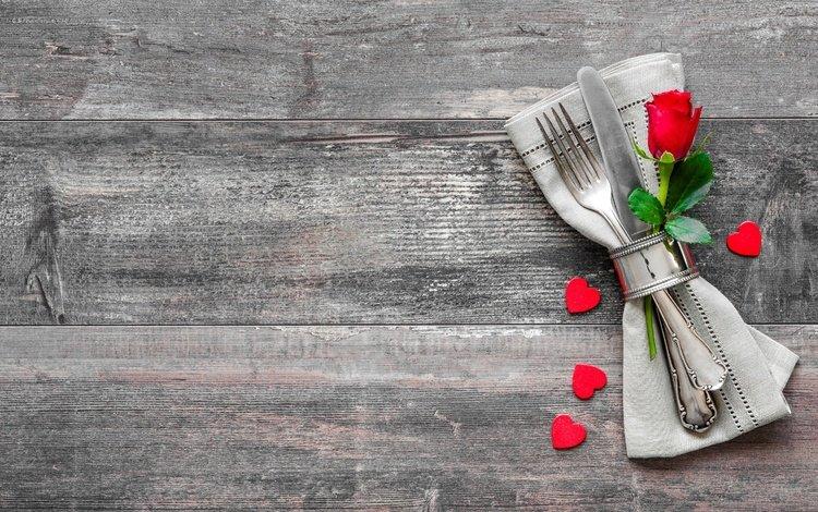 rose, heart, love, romantic, wood