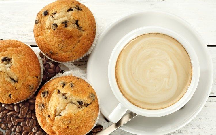 кофе, завтрак, кубок, кексы, капкейк, бобы, coffee, breakfast, cup, cupcakes, cupcake, beans
