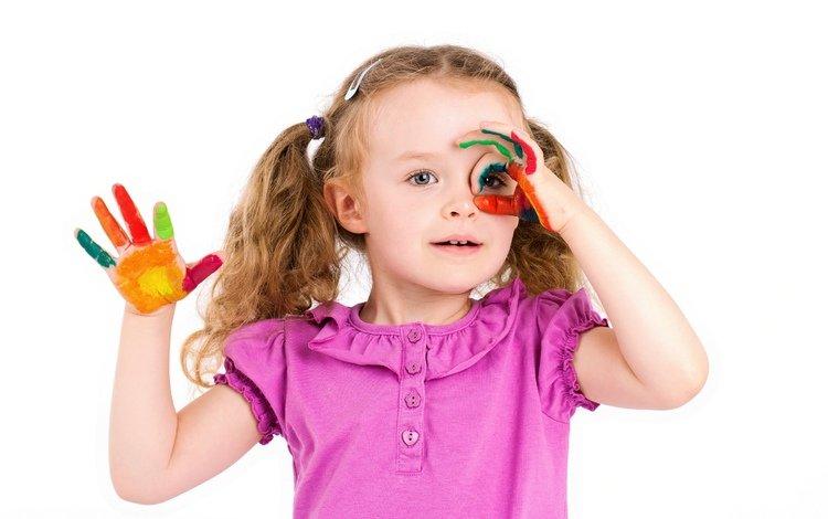 краски, девочка, ребенок, руки, маленькая, дитя, little girls, paints, paint, girl, child, hands, little