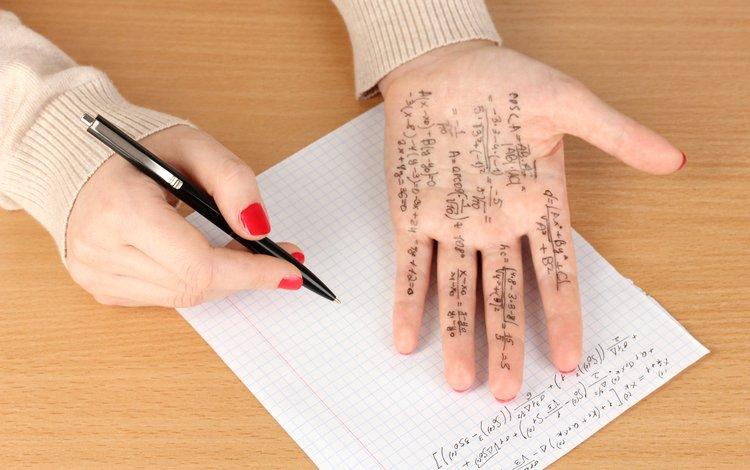 hands, crib, cheating, mathematics, machetes, copying