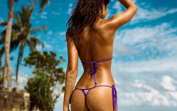 the sky, clouds, girl, sea, pose, sand, beach, brunette, palm trees, photographer, figure, swimsuit, bokeh, sexy, mavrin, slim
