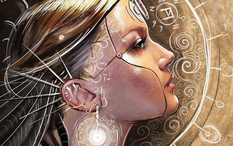 арт, девушка, фантастика, узоры, профиль, шипы, art, girl, fiction, patterns, profile, spikes