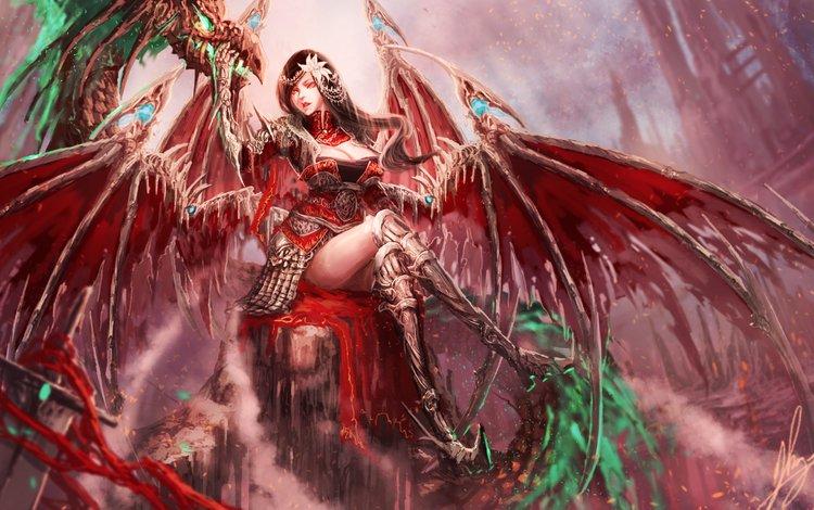 арт, поза, фантастика, взгляд, крылья, сидит, демоница, art, pose, fiction, look, wings, sitting, demoness