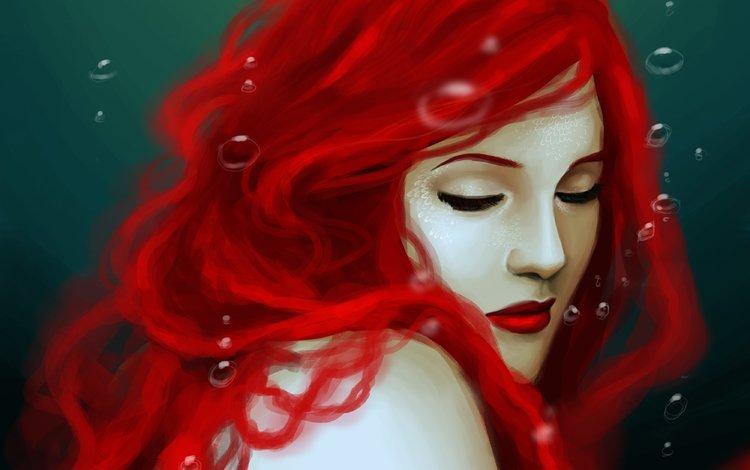 арт, вода, плечи, пузырьки, русалка, красные волосы, закрытые глаза, art, water, shoulders, bubbles, mermaid, red hair, closed eyes