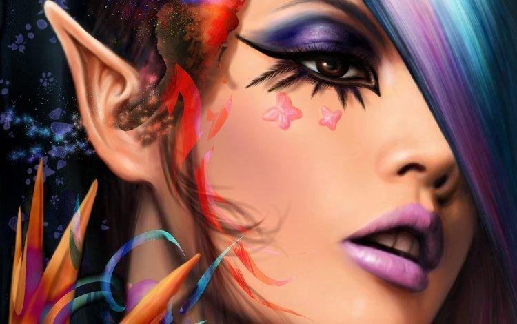 арт, взгляд, лицо, бабочки, уши, макияж, эльфийка, art, look, face, butterfly, ears, makeup, elf