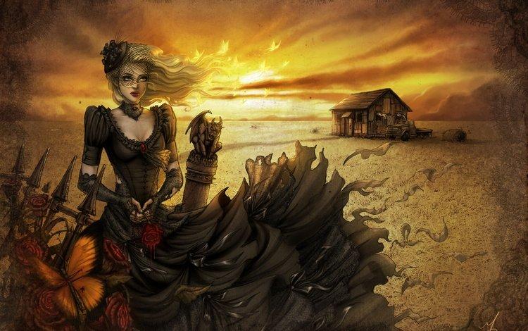 арт, черное платье, закат, девушка, роза, забор, домик, ветер, шляпка, art, black dress, sunset, girl, rose, the fence, house, the wind, hat