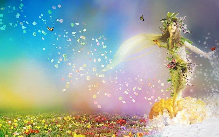 цветы, весенние, арт, природа, девушка, фантастика, весна, бабочки, времена года, flowers, art, nature, girl, fiction, spring, butterfly, seasons