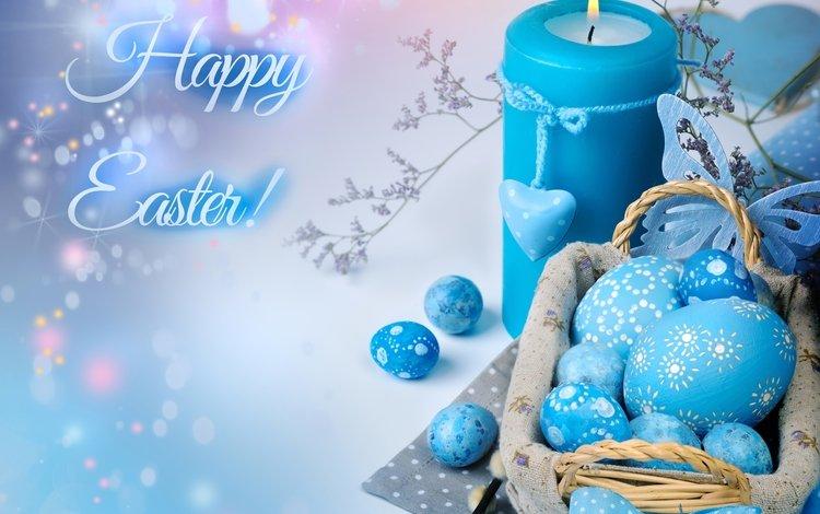 голубой, свеча, пасха, яйца, декор, blue, candle, easter, eggs, decor
