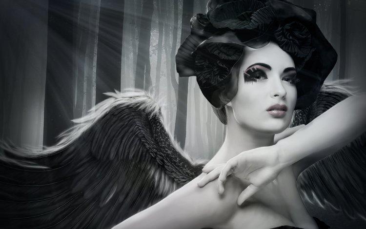 деревья, девушка, взгляд, ангел, лицо, макияж, руки. крылья, trees, girl, look, angel, face, makeup, hands. wings
