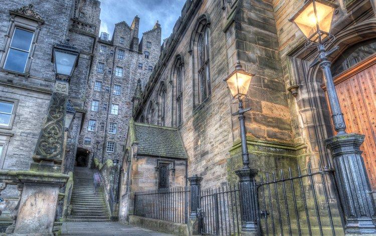 фонари, лестница, домики, шотландия, hdr, эдинбург, lights, ladder, houses, scotland, edinburgh