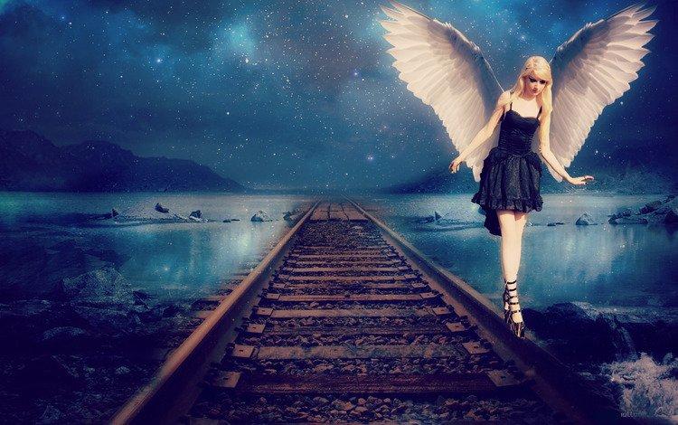 небо, рельсы, девушка, платье, звезды, крылья, ангел, черное, the sky, rails, girl, dress, stars, wings, angel, black