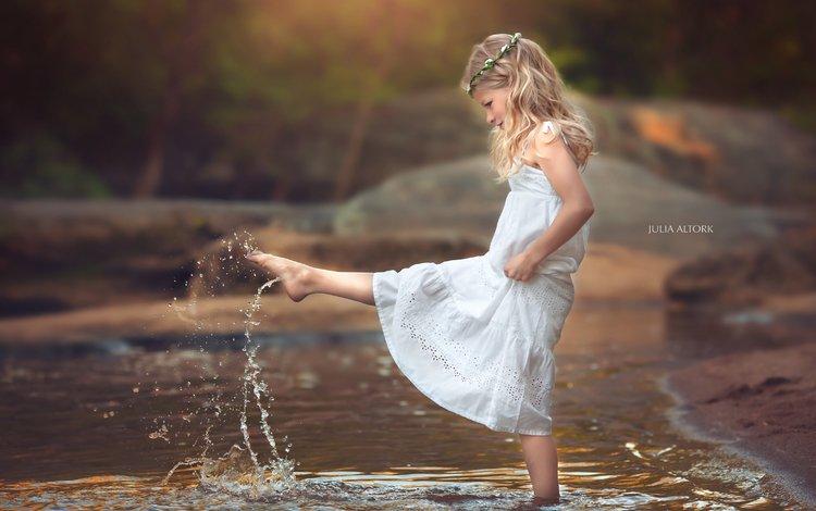 река, природа, девочка, river, nature, girl