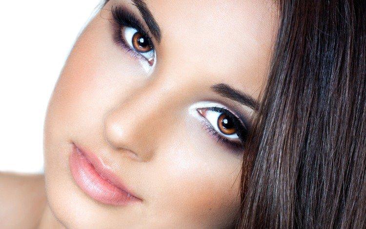 девушка, брюнет, грим, портрет, сексапильная, брюнетка, взгляд, модель, лицо, макияж, карие глаза, girl, portrait, sexy, brunette, look, model, face, makeup, brown eyes