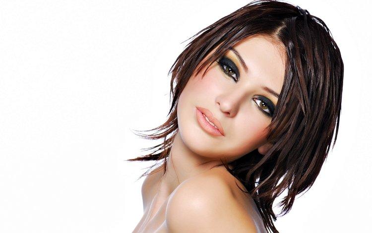 девушка, портрет, взгляд, модель, лицо, макияж, грим, голые плечи, сексапильная, sexy, girl, portrait, look, model, face, makeup, bare shoulders