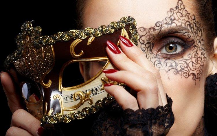 девушка, модел, маска, портрет, взгляд, модель, волосы, лицо, сексапильная, girl, mask, portrait, look, model, hair, face, sexy