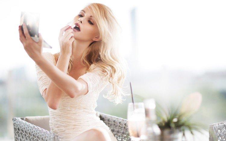 девушка, блондинка, модель, элисандра томачески, губная помада, girl, blonde, model, elisandra tomacheski, lipstick