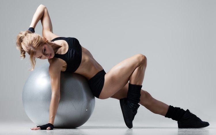 девушка, блондинка, модель, мяч, фитнесс, girl, blonde, model, the ball, fitness