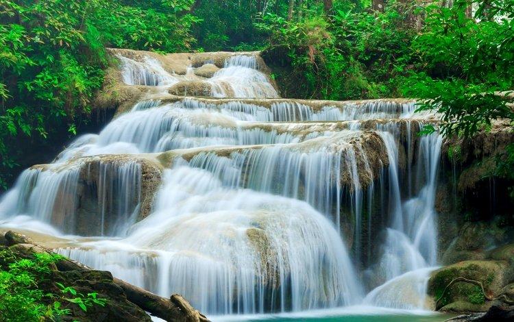 лес, ручей, водопад, таиланд, kanchanaburi, erawan waterfall, эраван, forest, stream, waterfall, thailand, erawan