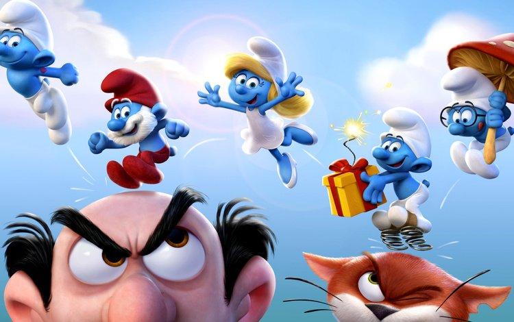 cartoon, poster, the smurfs, smurfs, smurfette