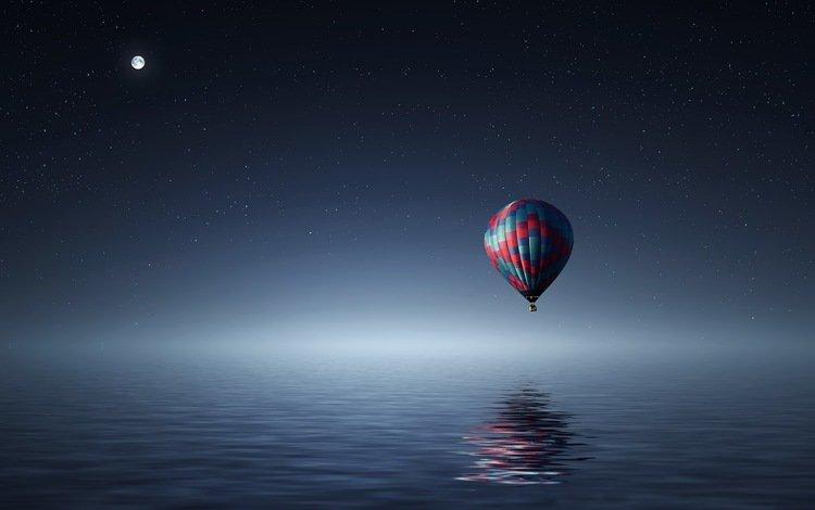 небо, луна, свет, океан, ночь, воздушный шар, вода, отражение, море, полет, звезды, the sky, the moon, light, the ocean, night, balloon, water, reflection, sea, flight, stars