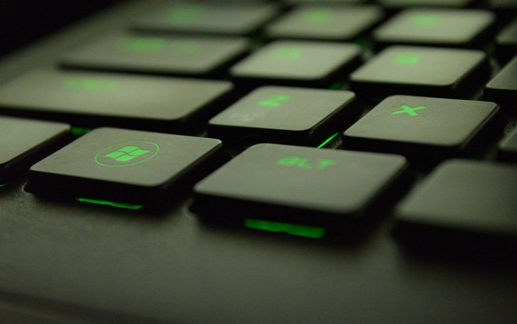 green, keyboard, computer, technology, typing