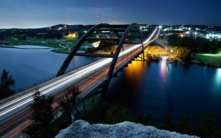 деревья, огни, река, мост, город, остин, штат техас, trees, lights, river, bridge, the city, austin, texas