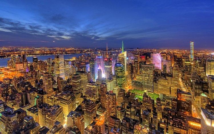 панорама, небоскребы, ночной город, нью-йорк, здания, манхеттен, манхэттен, new york city, nyc, panorama, skyscrapers, night city, new york, building, manhattan