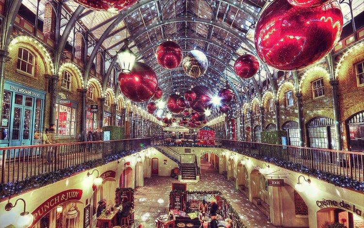 украшения, лондон, англия, рождество, декорация, елочная, рынок ковент-гарден, decoration, london, england, christmas, covent garden market