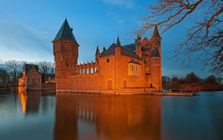 вода, замок, нидерланды, ров, heeswijk castle, замок хейсвик, water, castle, netherlands, ditch, castle hasvik