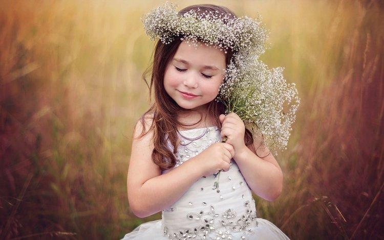 платье, поле, девочка, ребенок, венок, в платье, маленькая девочка, дитя, dress, field, girl, child, wreath, little girl