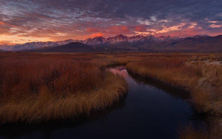 трава, река, горы, закат, сша, калифорния, owens river, оуэнс, калифорнийская, california, grass, river, mountains, sunset, usa, ca, owens