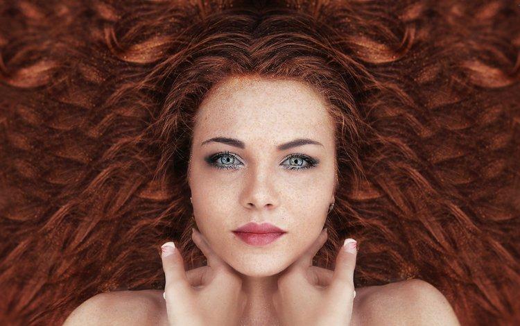 девушка, сексапильная, портрет, взгляд, рыжая, волосы, лицо, макияж, рыжеволосая, girl, sexy, portrait, look, red, hair, face, makeup, redhead
